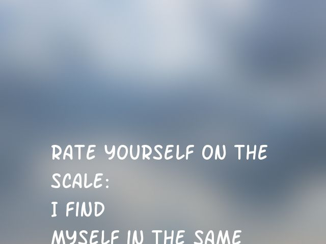 Rate yourself on the scale:  I find myself in the same kind of trouble, time after time.