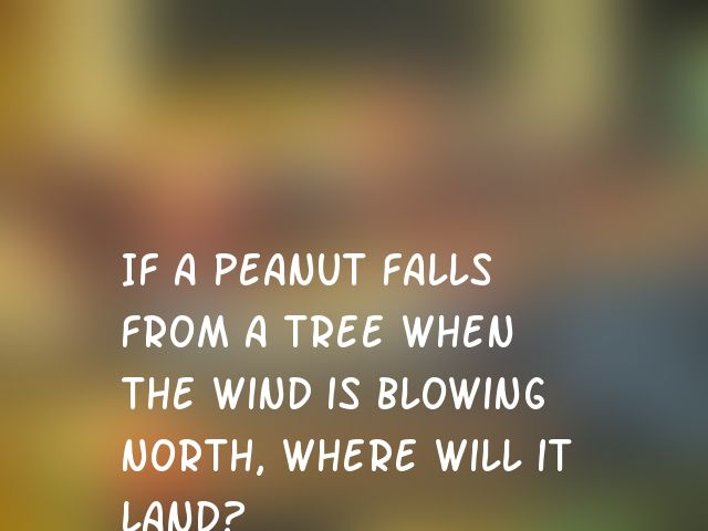 If a peanut falls from a tree when the wind is blowing north, where will it land?