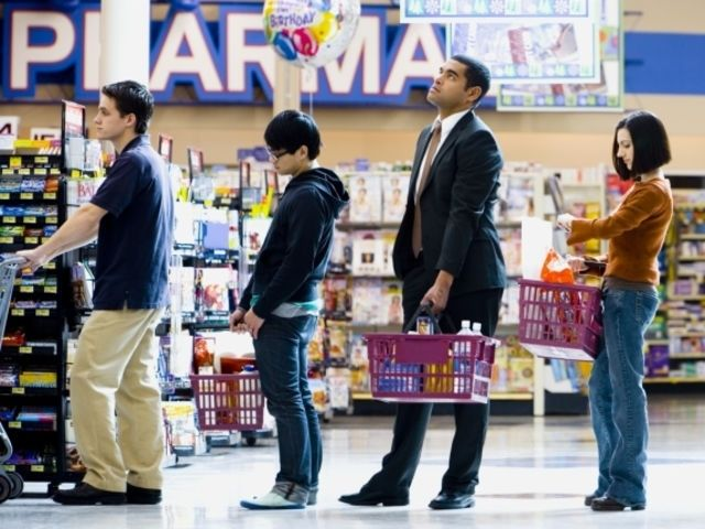 Pick your expression while waiting in line at the supermarket: