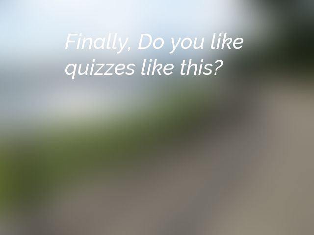 Finally, Do you like quizzes like this?