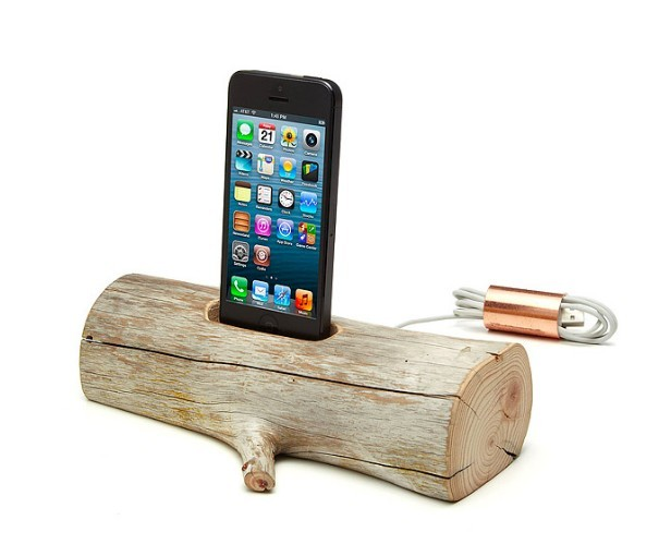 Driftwood charger for his iPhone.