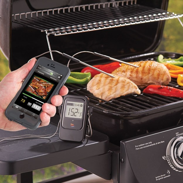Grill thermometer that sends phone notifications.