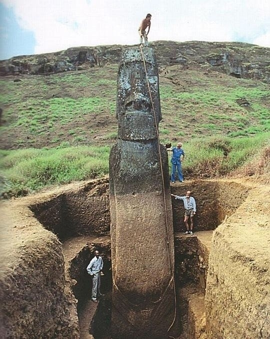 Easter Island heads actually have bodies.